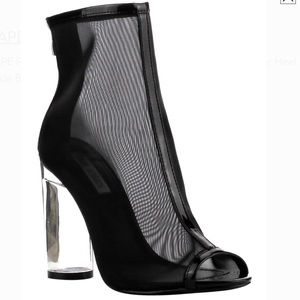 Mesh Net Peep Toe Block Clear Heel Ankle Booties